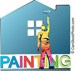 fest, vektor, szobafestő, ábra, épület