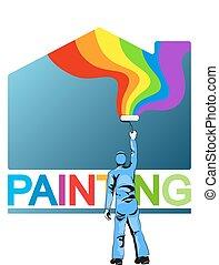 fest, vektor, szobafestő, épület