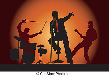 festa, 3, musicisti, concerto, banda