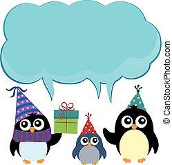 festa, 3, pinguini, tema, copyspace