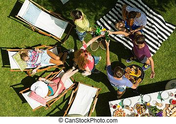 festa, amici, detenere, giardino