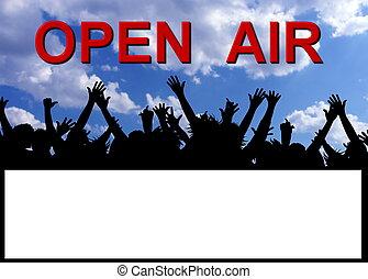 festa, aria, aperto, cartellone, invito