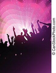 festa, astratto, fondo, folla