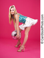 festa, ballerino, palla, discoteca