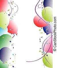festa, balloon, cornice, fondo