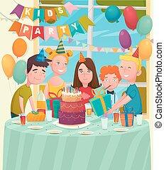 festa, bambini, b-day, composizione