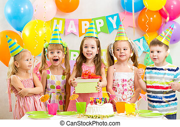 festa, bambini, bambini, compleanno, o