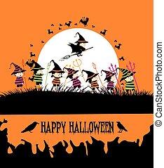 festa, bambini, halloween, felice