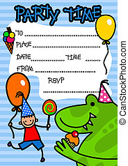 festa, bambini, invito