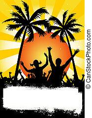 festa, cartellone, giallo, palme