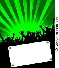 festa, cartellone, verde, invito