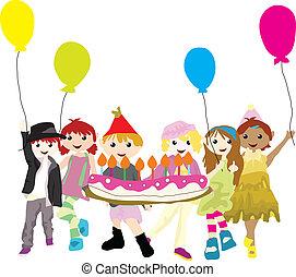 festa, cartone animato, bambini