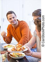 festa, cena, maschio, attraente