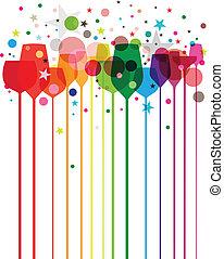 festa, colorito, bibite
