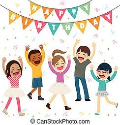 festa, compleanno, bambini, felice