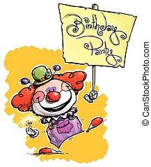 festa, compleanno, cartellone, presa a terra, pagliaccio