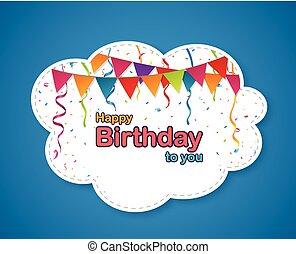 festa compleanno, disegno, con, nuvola