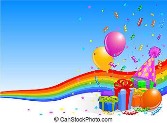 festa, compleanno, fondo