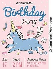festa compleanno, invito, manifesto