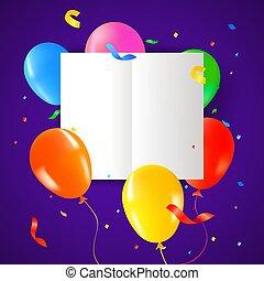 festa compleanno, palloni, con, scheda, sagoma