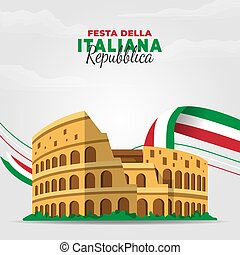 Festa della Repubblica Italiana (Translate: Italy Republic Day). Happy national holiday. Celebrated annually on June 2 in Italy. Italy flag. Patriotic poster design. Vector illustration