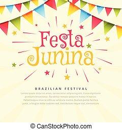 festa, festival, junina, vacances, fond, brésil