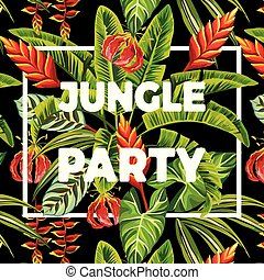 festa, foglie, fiori, slogan, giungla