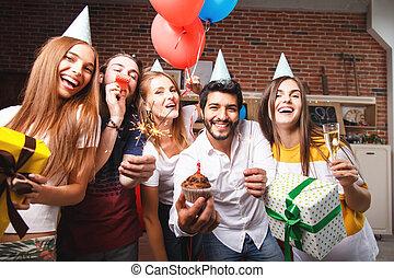 festa, godere, amici, meglio