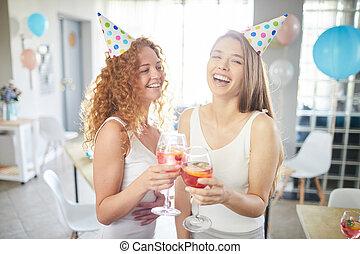 festa, godere, ragazze, due