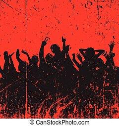 festa, grunge, folla, fondo