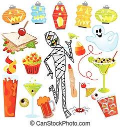 festa, halloween, arte, clip