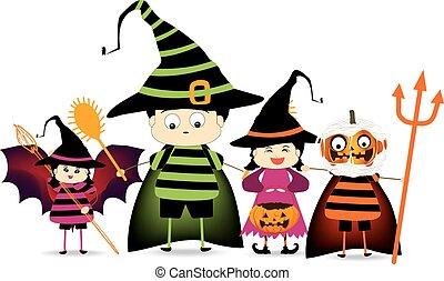 festa, halloween, bambini, felice