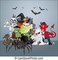 festa, halloween, mostro, celebrazione