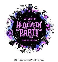 festa halloween, poster., vettore, illustration.