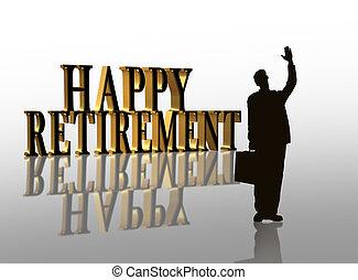 festa, illustrazione, pensionamento