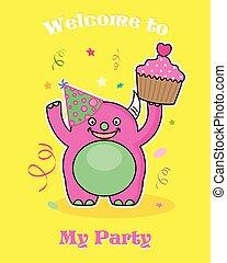 festa, invito, card., mostro