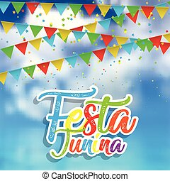 Festa Junina background with defocussed sky, banners and confetti
