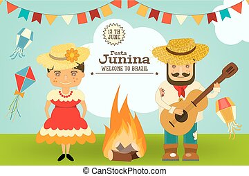 festa, junina, -, brazílie, festival