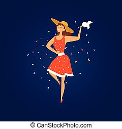 Festa Junina Brazil June Festival, Smiling Young Woman in Cowboy Hat Dancing at Night Folklore Party Vector Illustration