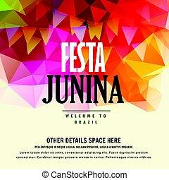 festa, junina, brazilec, červen, festival, barvitý, grafické...