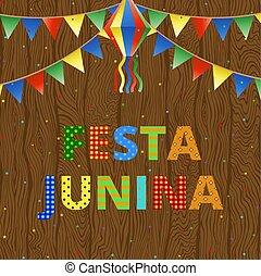 festa, junina, dále, dřevo