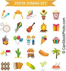 festa, junina, dát, ikona, byt, style., brazilec, latin...