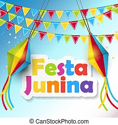 festa, junina, grafické pozadí, vektor, ilustrace