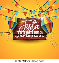 Festa Junina Illustration with Party Flags and Paper Lantern...