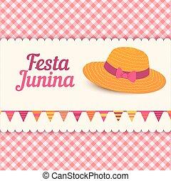 festa, junina, ilustrace, -, brazílie, červen, festival