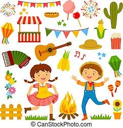 festa, junina, karikatúrák, állhatatos