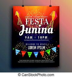 festa junina party invitation flyer design with fireworks