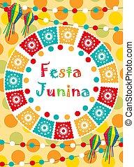 festa, junina, pohled, pozvání, poster., brazilec, latin...