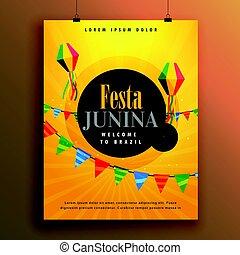 festa, junina, pozvání, plakát, design, šablona