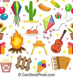 festa, junina, seamless, pattern., brazilec, latin american,...